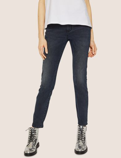 J05 SUPER-SKINNY DARK GREY CROPPED ZIP JEAN