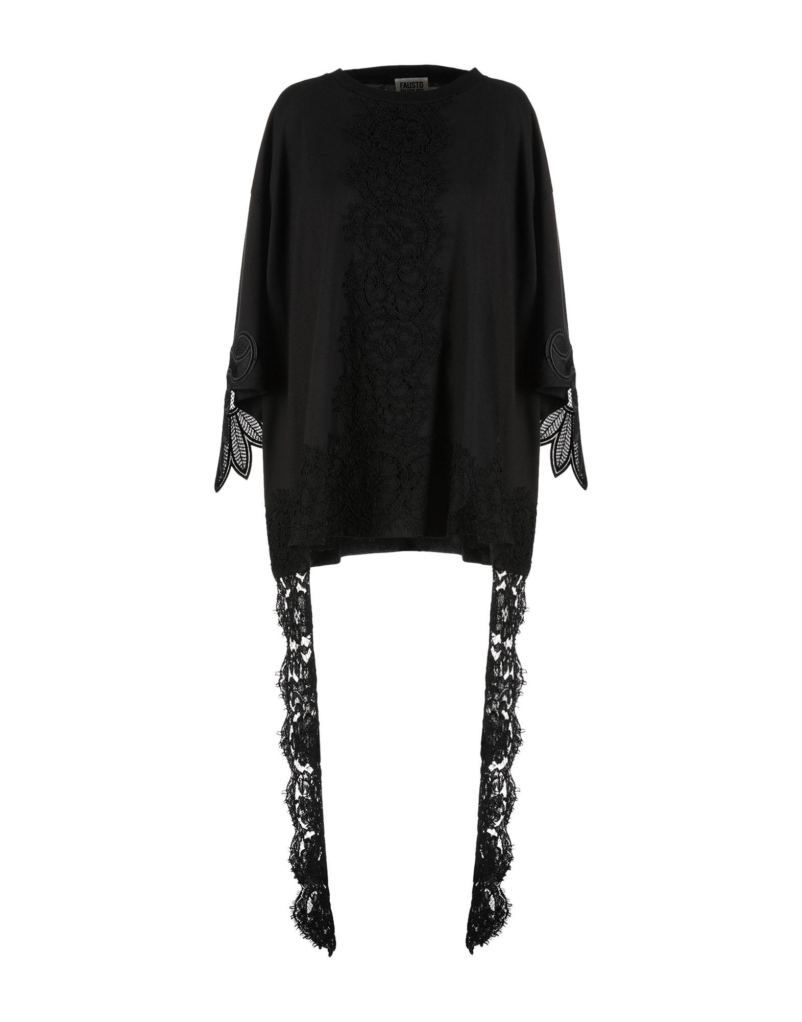 《セール開催中》FAUSTO PUGLISI レディース T シャツ ブラック XXS 100% コットン