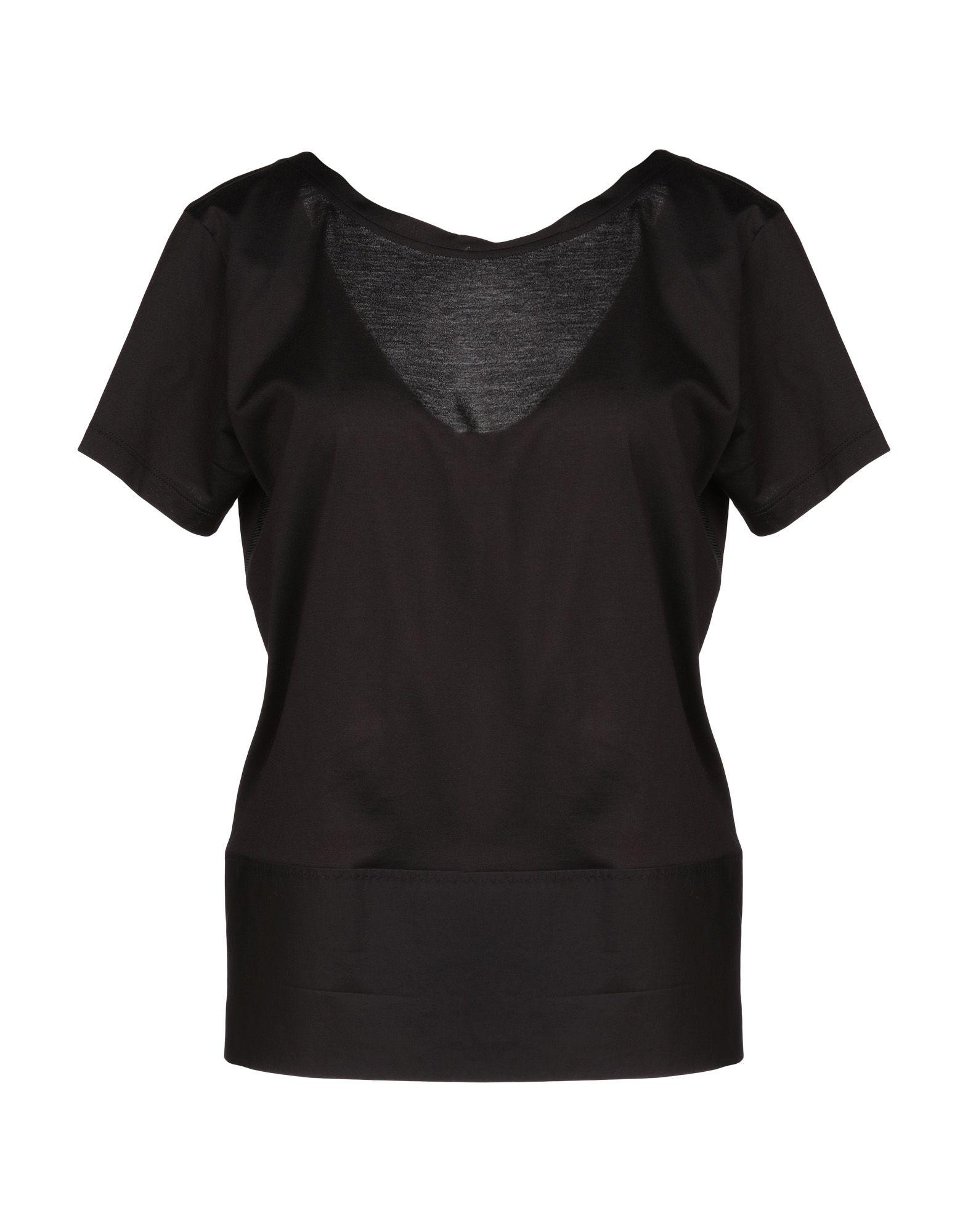 《送料無料》LES COPAINS レディース T シャツ ブラック 40 コットン 100%
