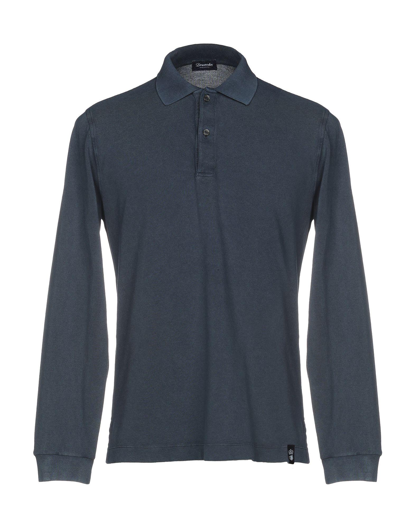 《送料無料》DRUMOHR メンズ ポロシャツ ダークブルー S コットン 100%