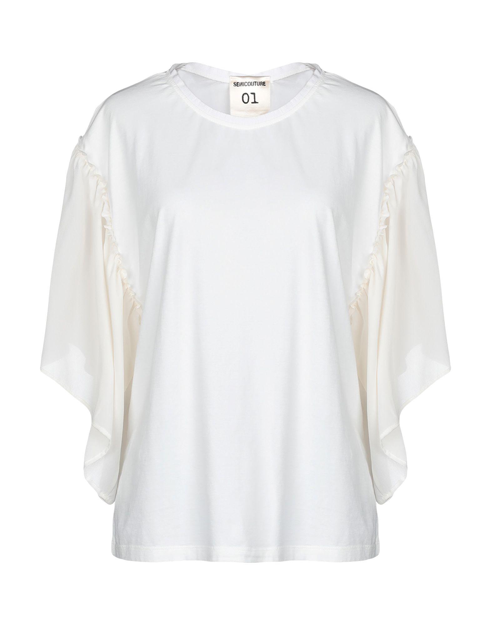 《期間限定 セール開催中》SEMICOUTURE レディース T シャツ ホワイト M 100% コットン シルク