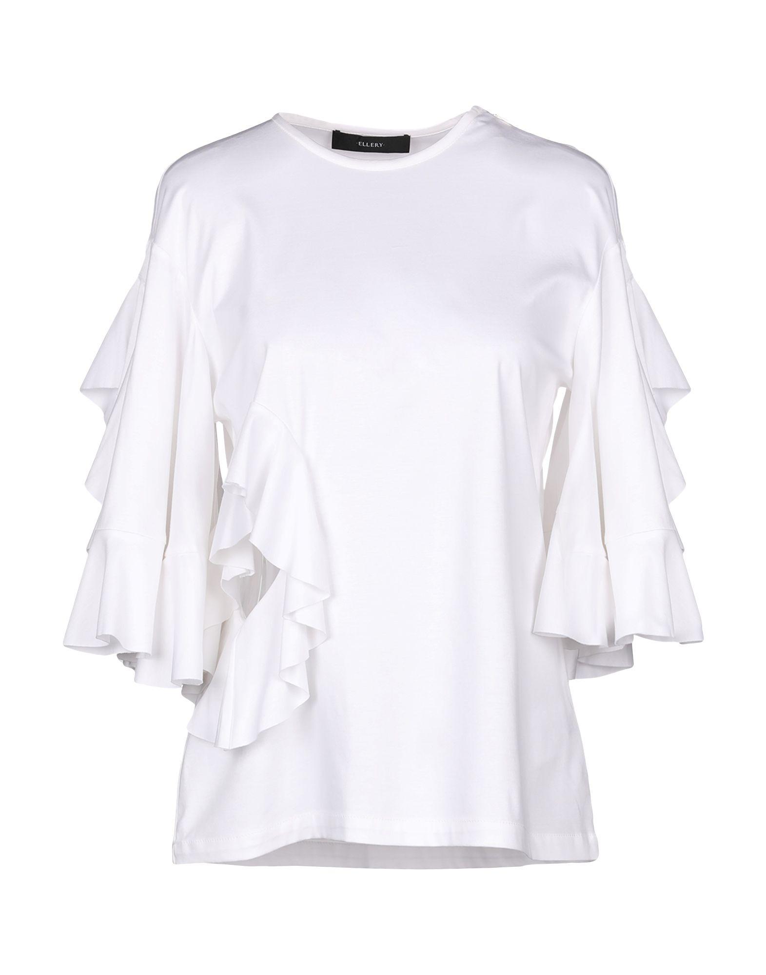《送料無料》ELLERY レディース T シャツ ホワイト 6 コットン 100%