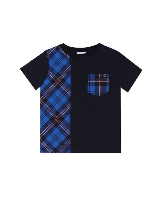 BLUE MIXED MATERIAL T-SHIRT  - Lanvin