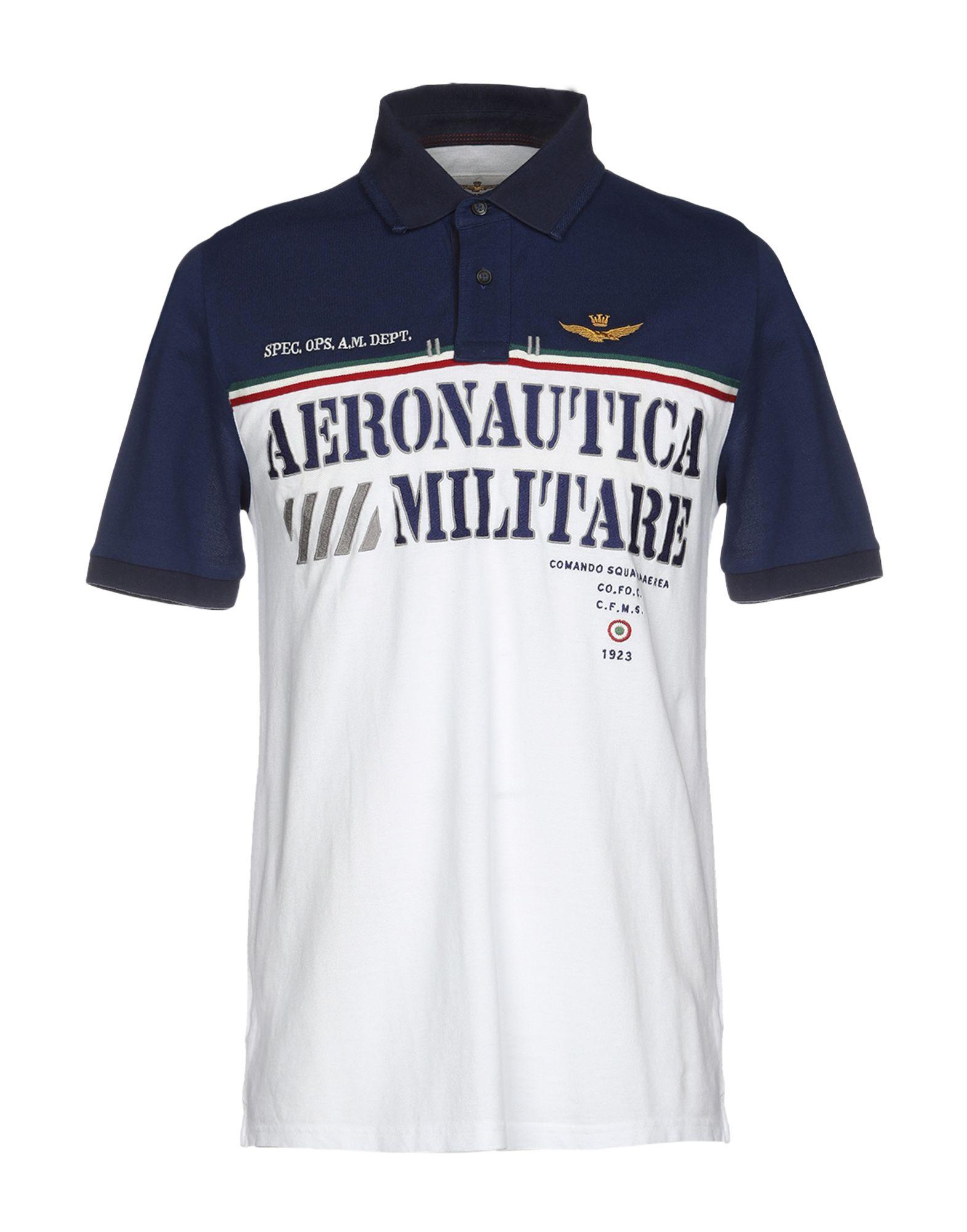 《送料無料》AERONAUTICA MILITARE メンズ ポロシャツ ホワイト S コットン 100%