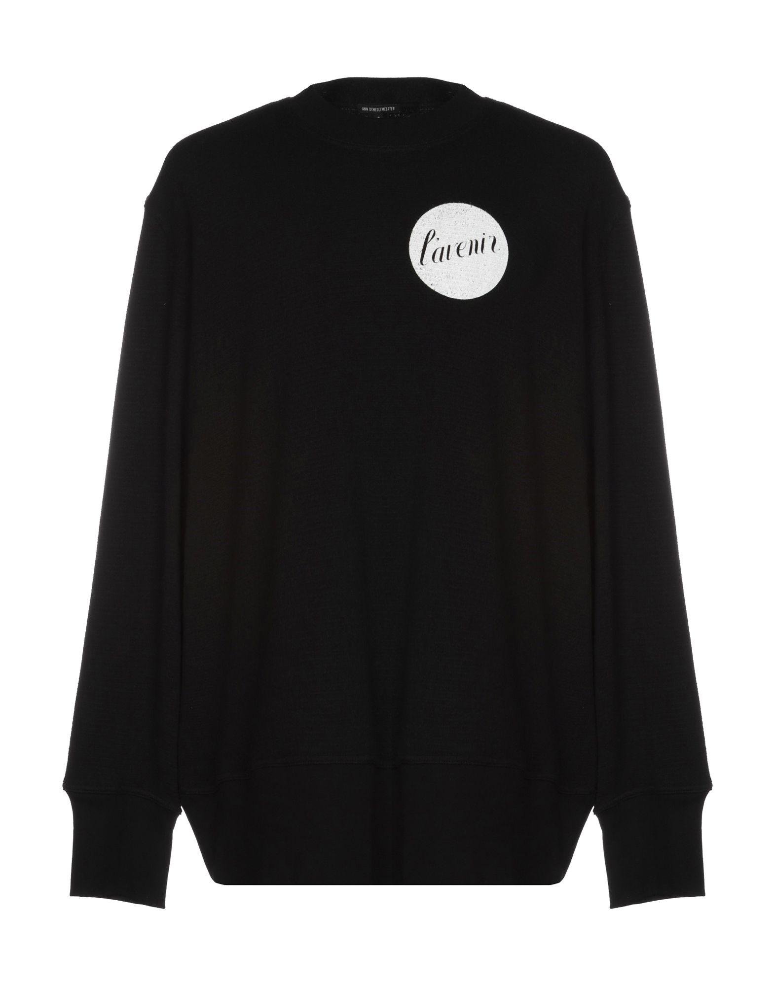 《送料無料》ANN DEMEULEMEESTER メンズ スウェットシャツ ブラック XXS 100% コットン