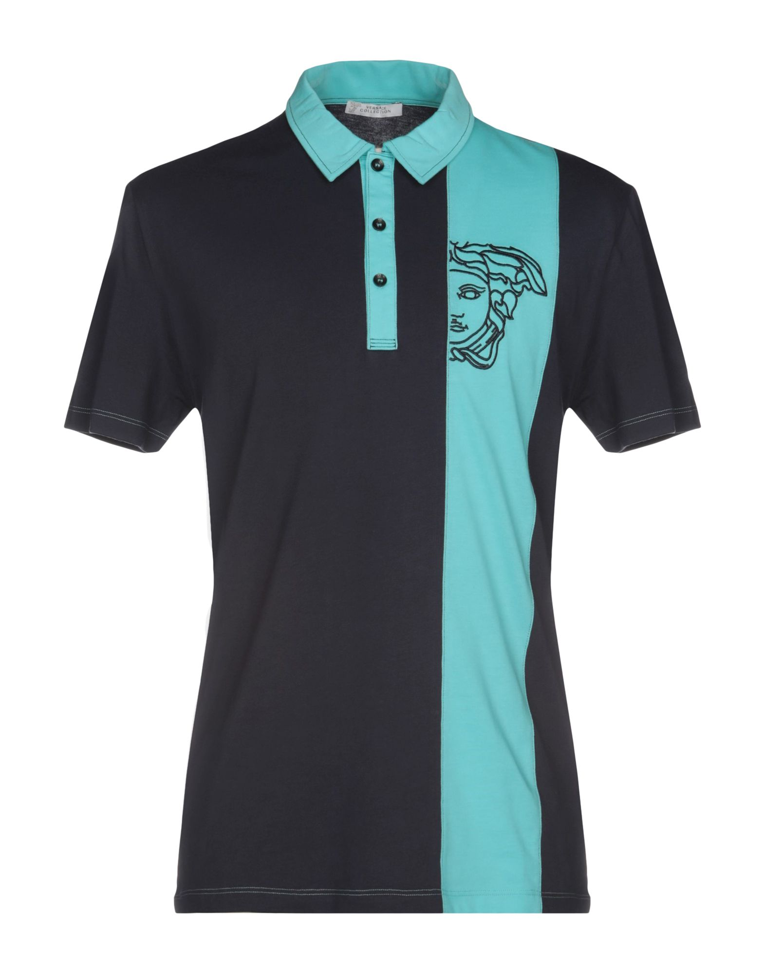 《送料無料》VERSACE COLLECTION メンズ ポロシャツ アジュールブルー M コットン 100%