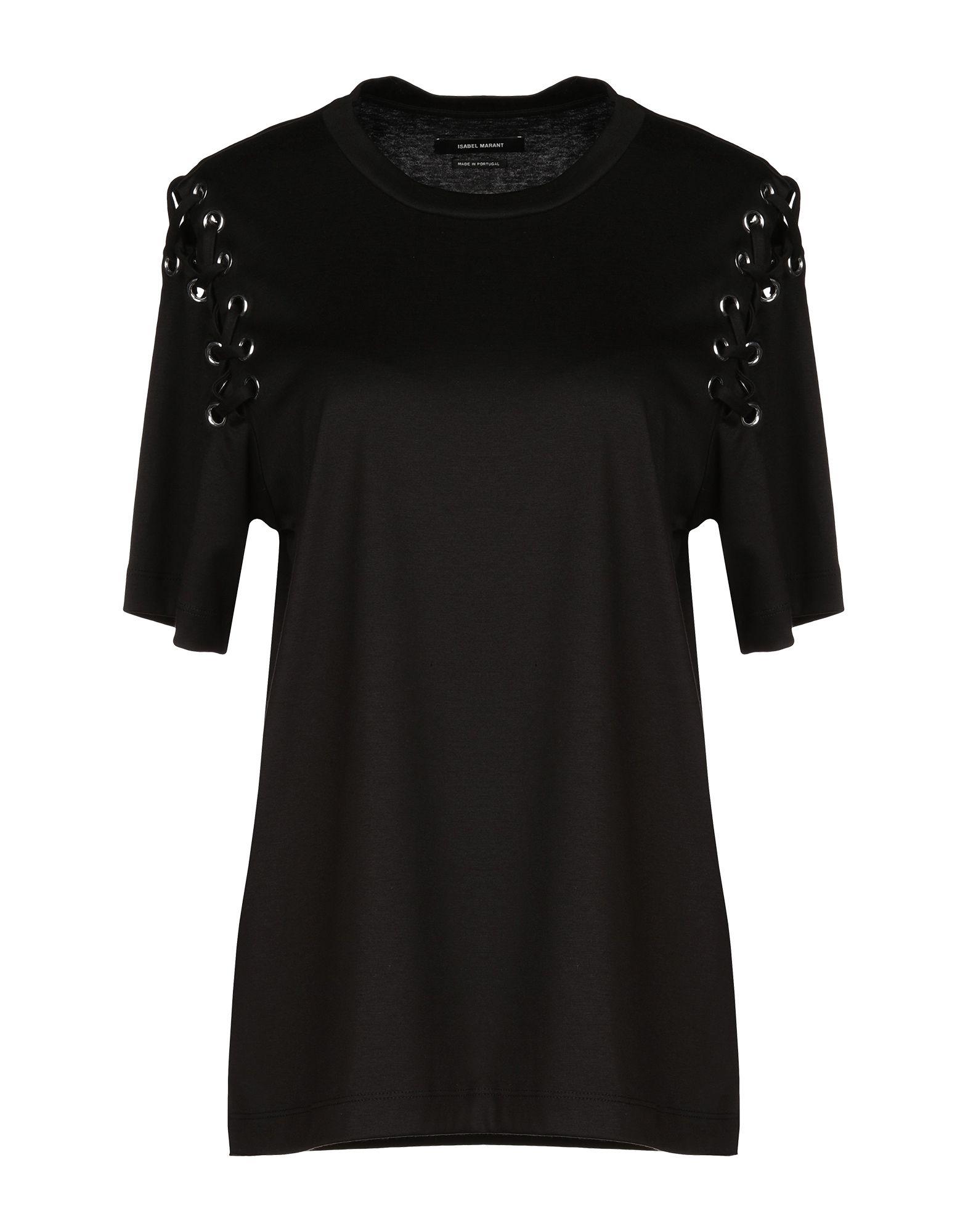 《期間限定セール中》ISABEL MARANT レディース T シャツ ブラック XS 50% コットン 50% レーヨン