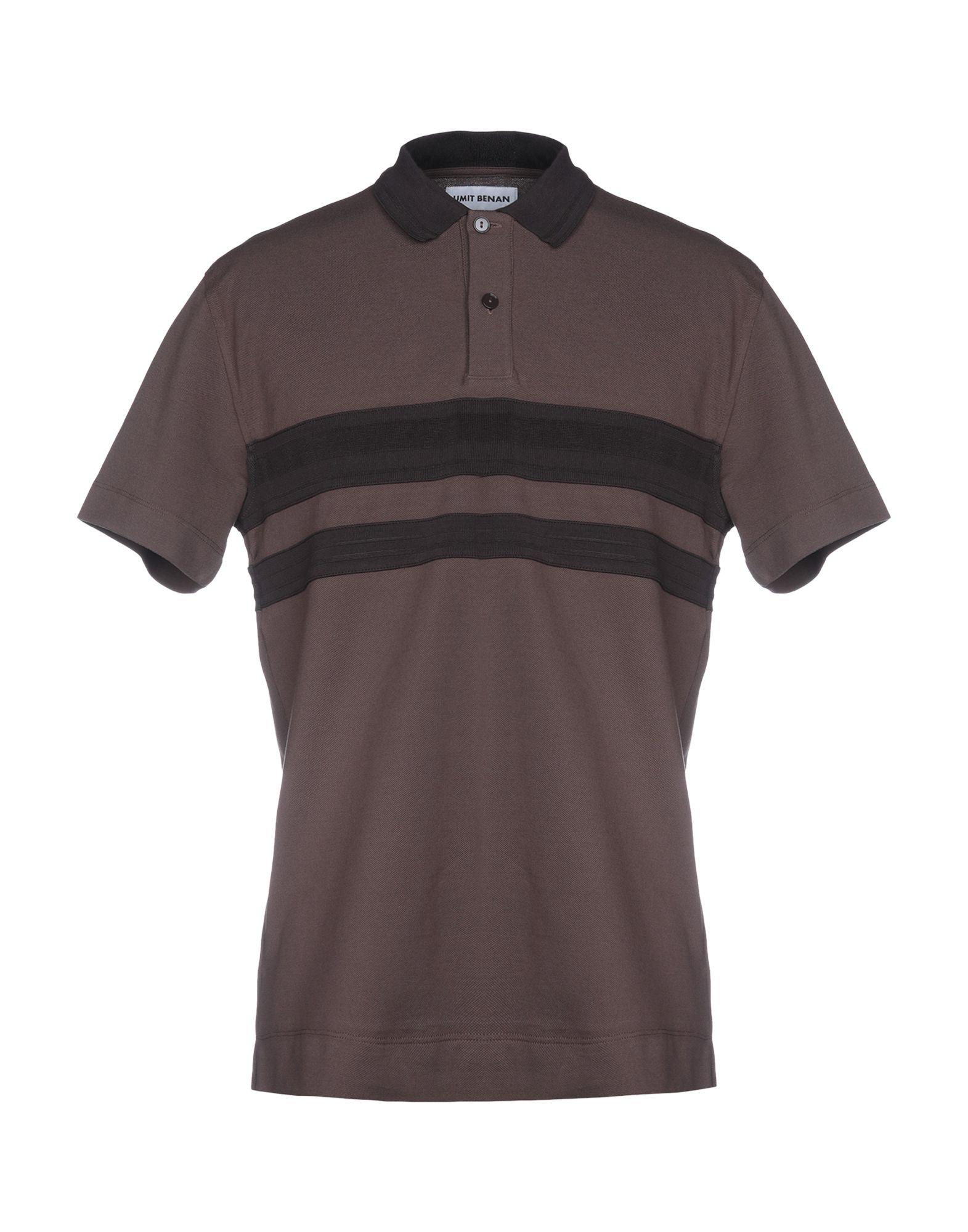《送料無料》UMIT BENAN メンズ ポロシャツ ダークブラウン 48 コットン 100%