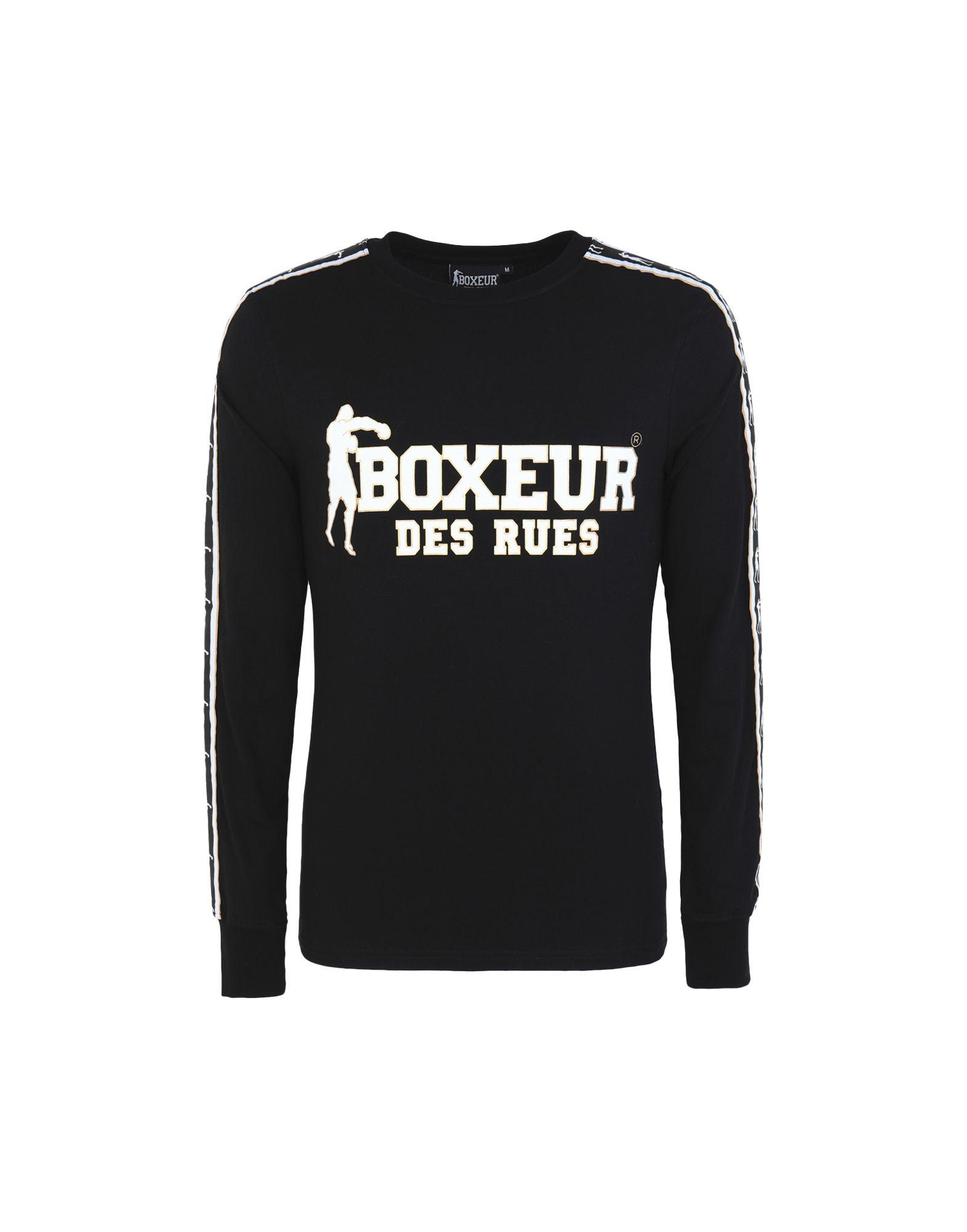 《セール開催中》BOXEUR DES RUES メンズ T シャツ ブラック M コットン 95% / ポリウレタン 5% RNECK LS T-SHIRT WITH JACQUARD LOG TAPE ON SLEEVES