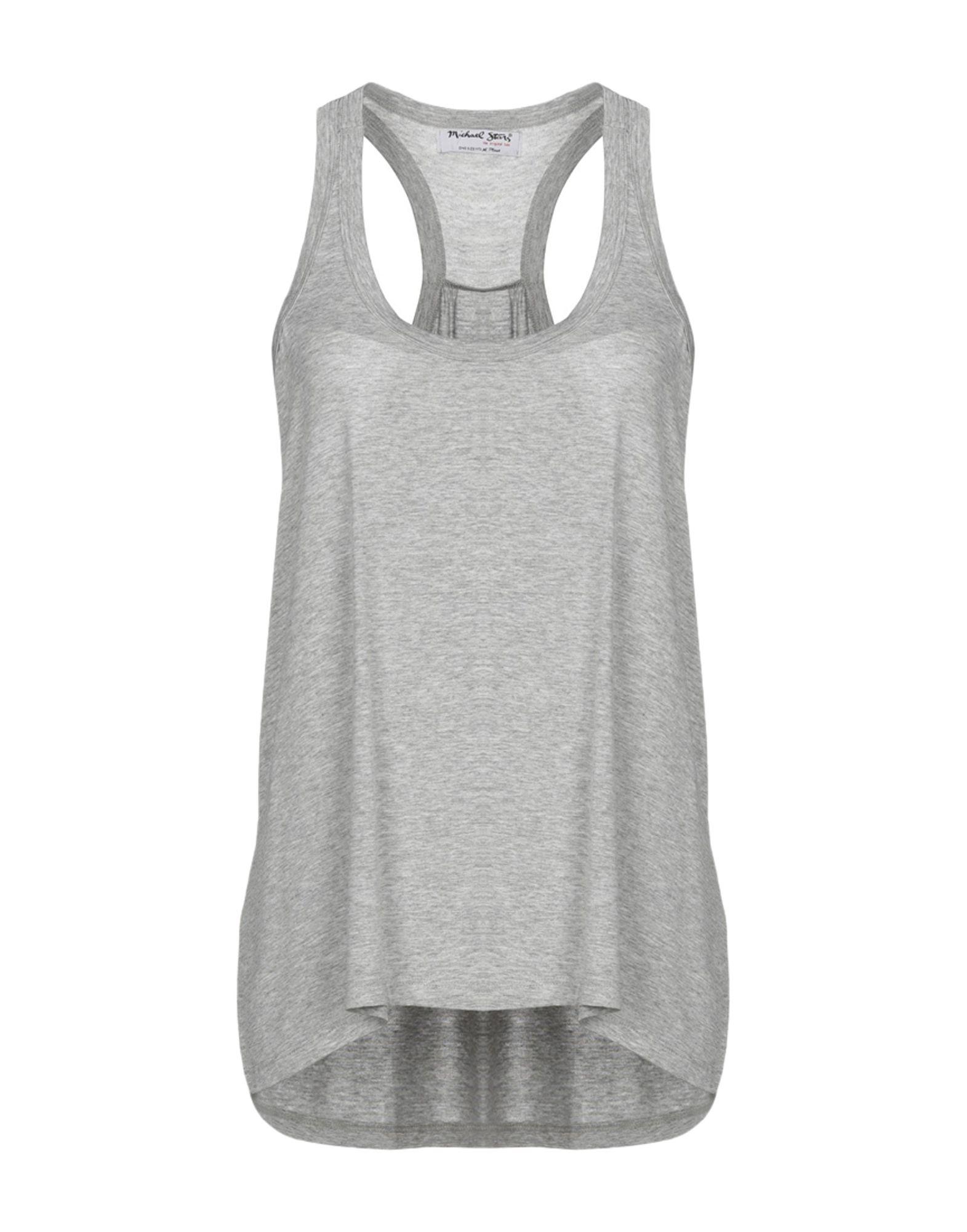 MICHAEL STARS Tank tops. jersey, mélange, no appliqués, solid color, round collar, sleeveless, no pockets, stretch. 95% Rayon, 5% Elastane