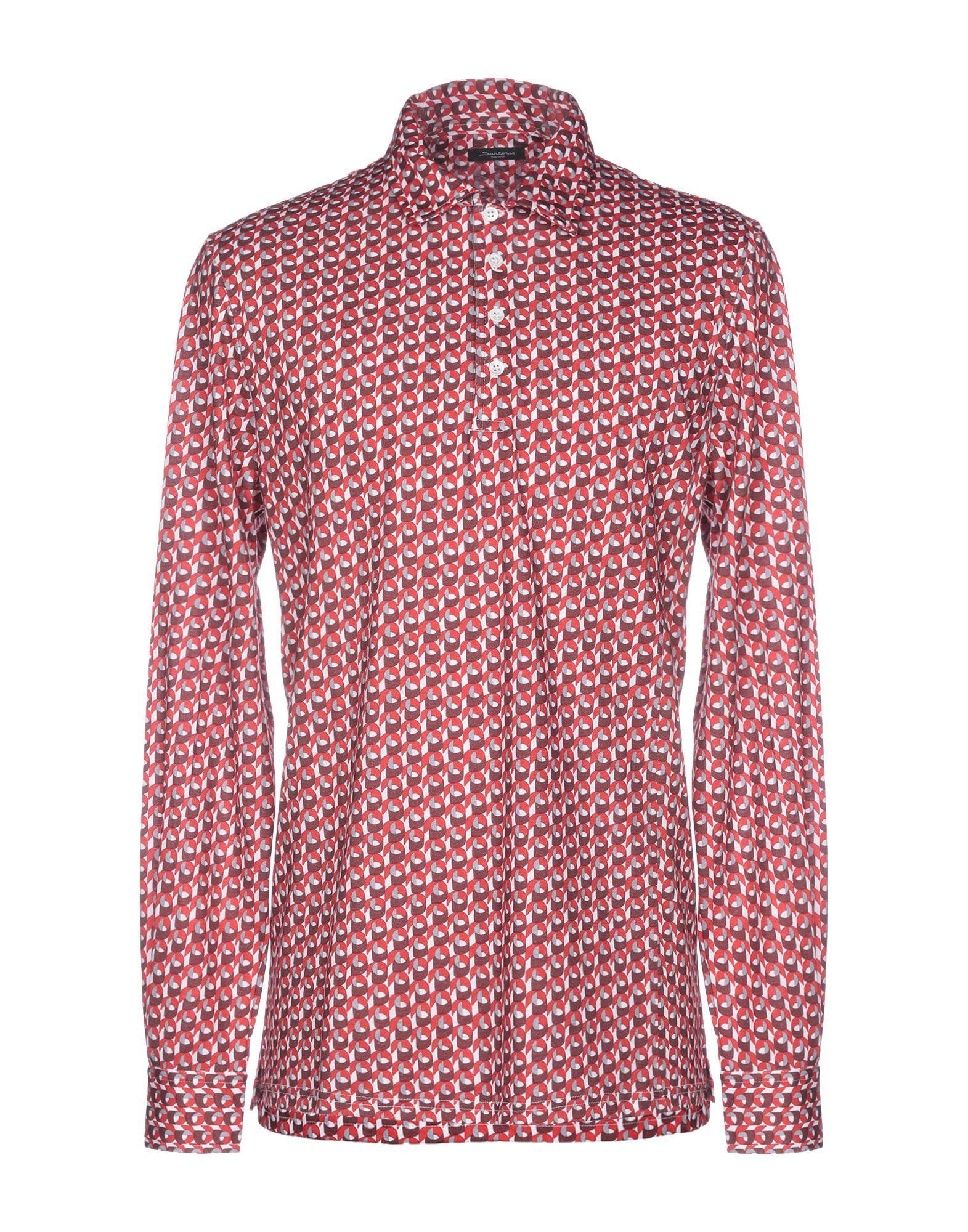 《送料無料》SARTORIO メンズ ポロシャツ レッド 50 コットン 100%