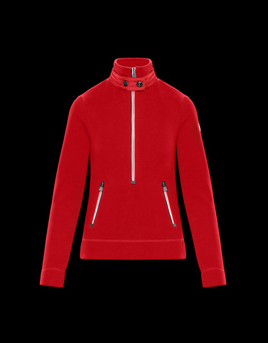 ZIPPED MOCK POLO NECK Red Grenoble Knitwear
