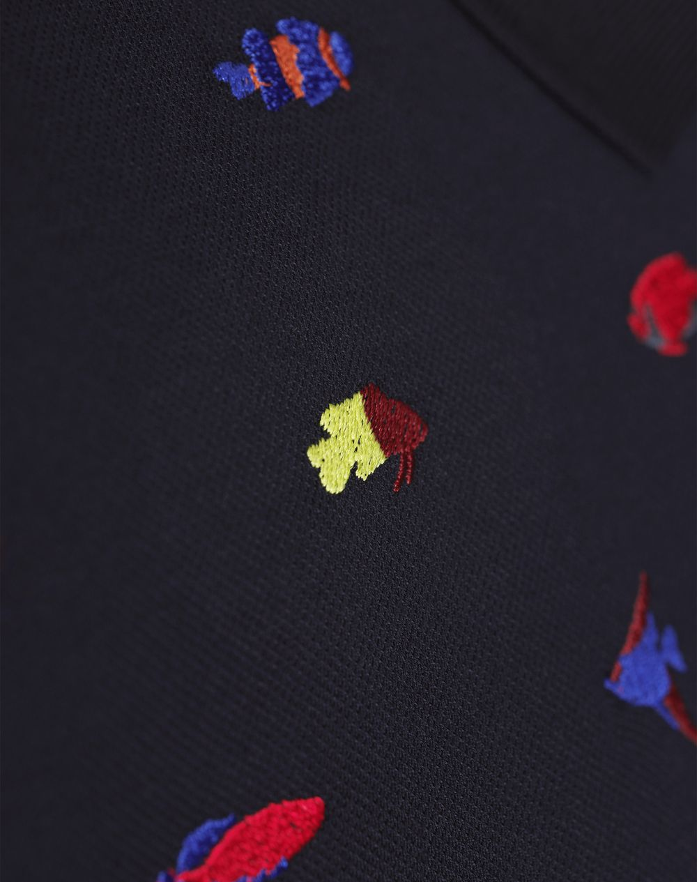 NAVY BLUE EMBROIDERED POLO - Lanvin