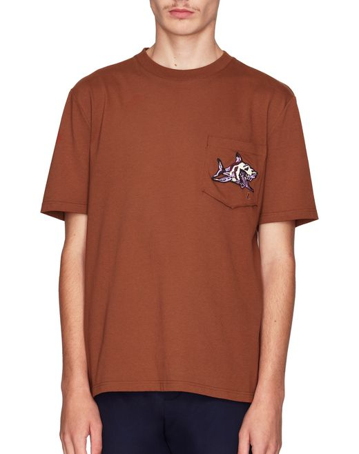 "T-SHIRT COLOR CAMMELLO CON RICAMO ""L""  - Lanvin"