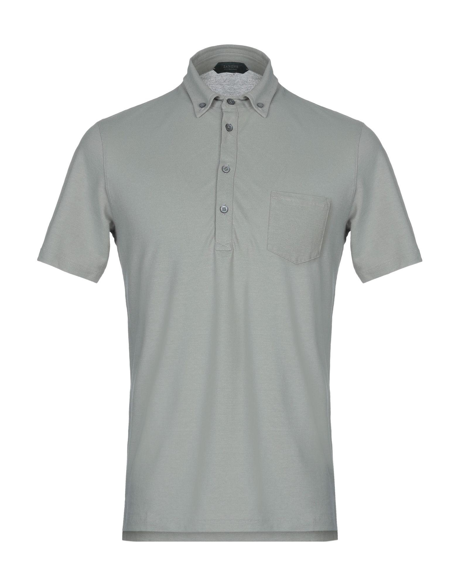 《送料無料》ZANONE メンズ ポロシャツ ドーブグレー 48 コットン 100%