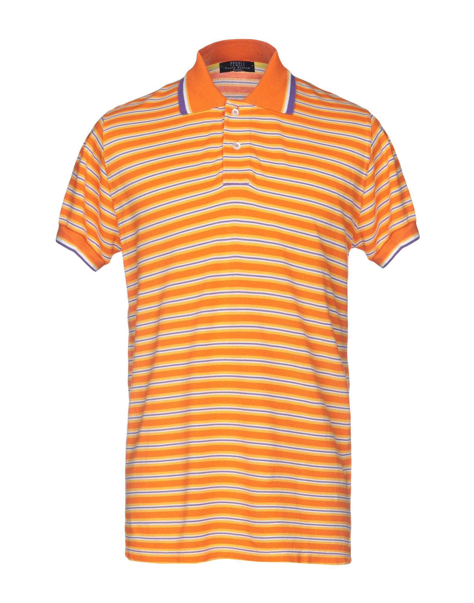 《送料無料》FEDELI メンズ ポロシャツ オレンジ 52 コットン 100%