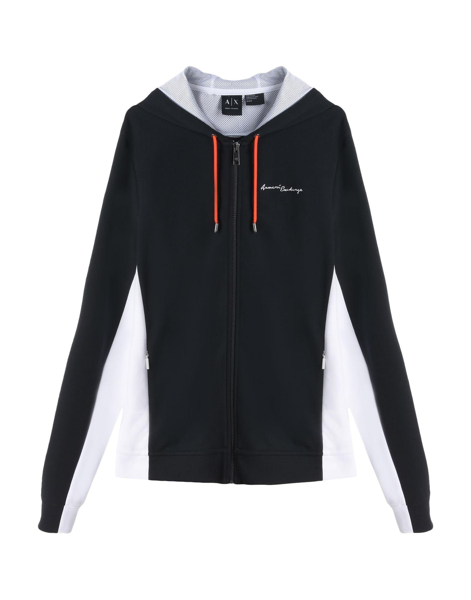 《送料無料》ARMANI EXCHANGE メンズ スウェットシャツ ブラック S コットン 68% / ポリエステル 32%