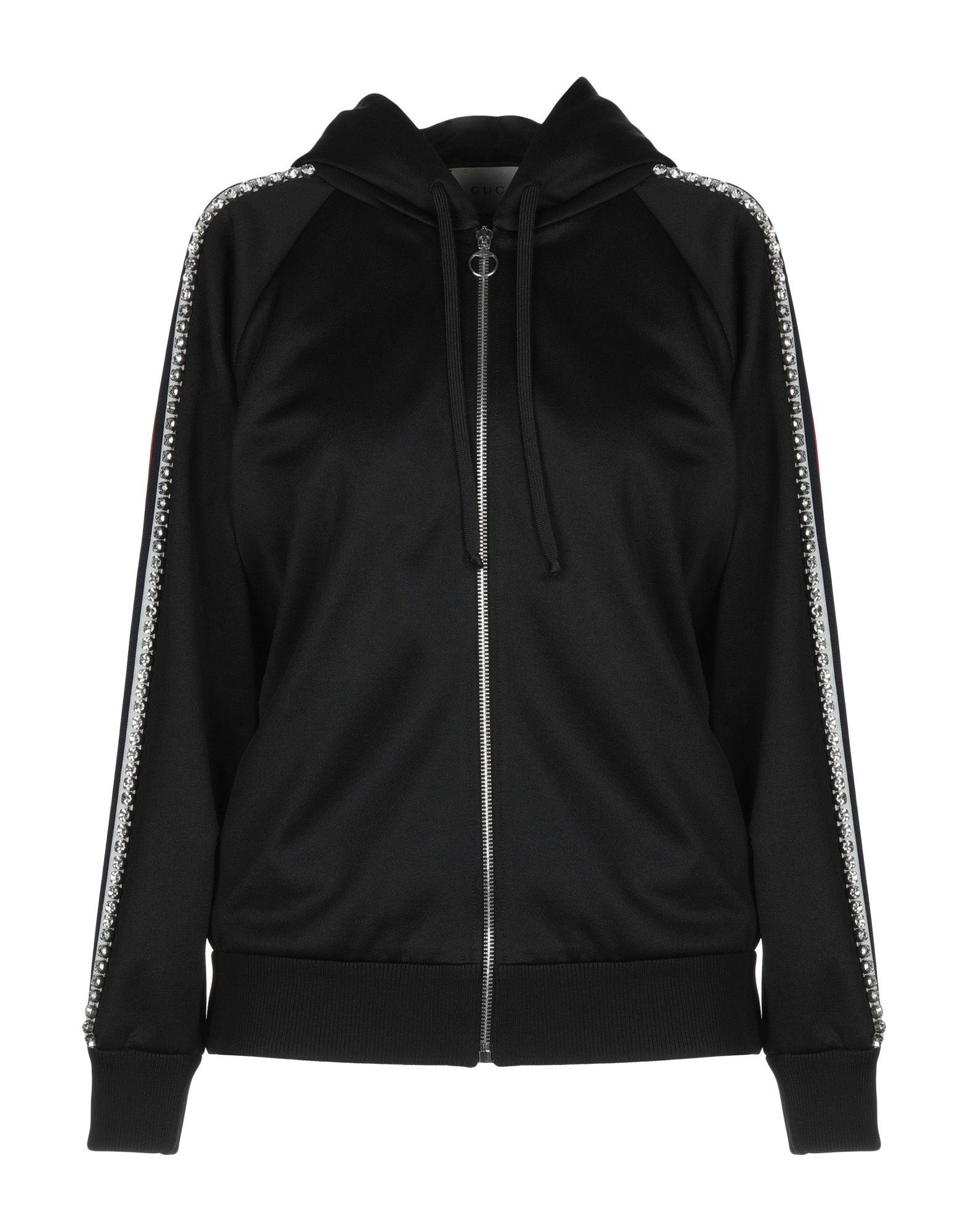 《セール開催中》GUCCI レディース スウェットシャツ ブラック S ポリエステル 55% / コットン 45% / ナイロン / 真鍮/ブラス / ガラス