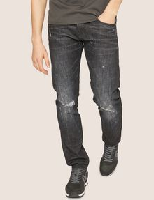 ARMANI EXCHANGE J13 SLIM-FIT BLACK DESTROYED JEAN SLIM FIT JEANS [*** pickupInStoreShippingNotGuaranteed_info ***] f