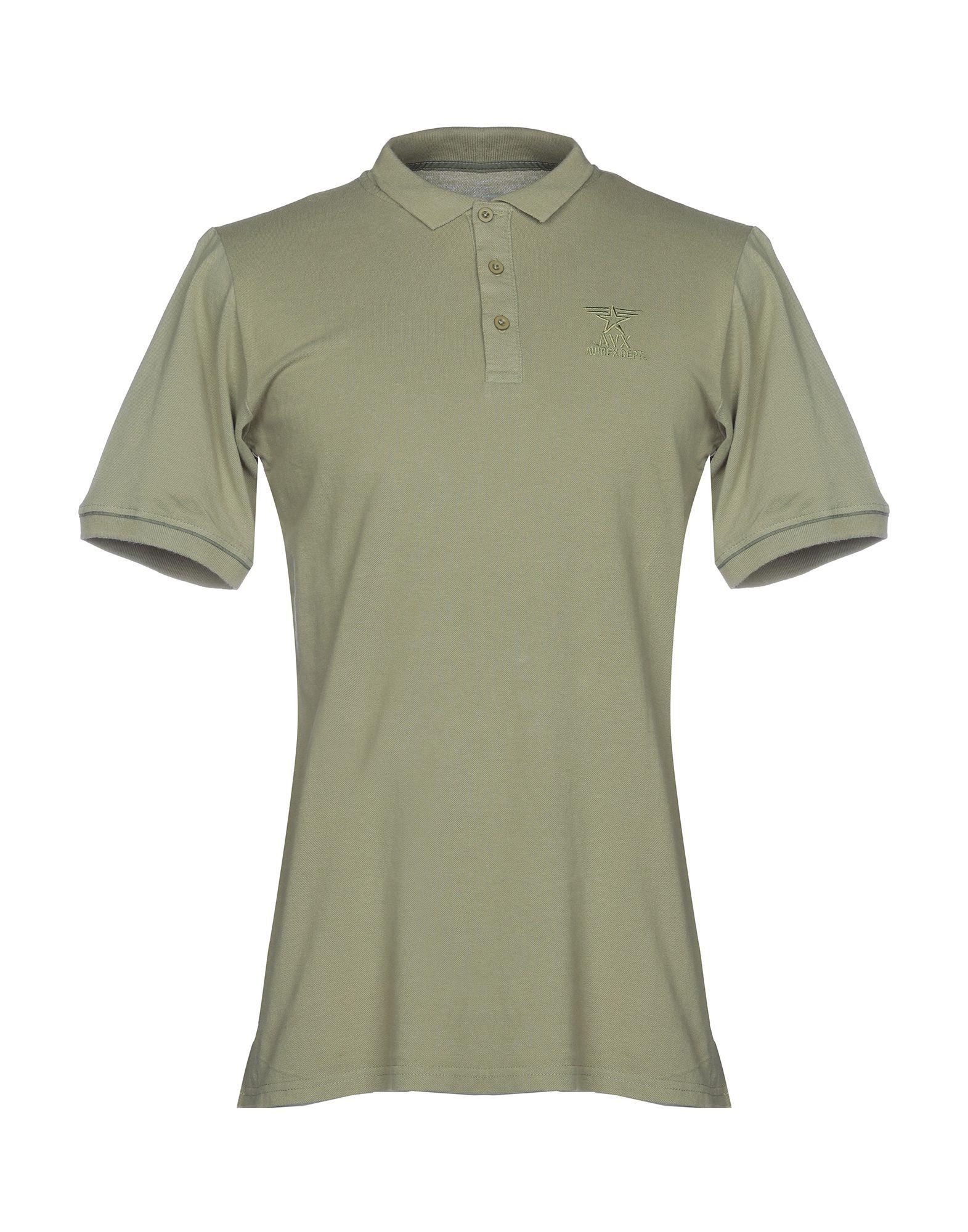 《送料無料》AVIREX メンズ ポロシャツ ミリタリーグリーン S コットン 100%