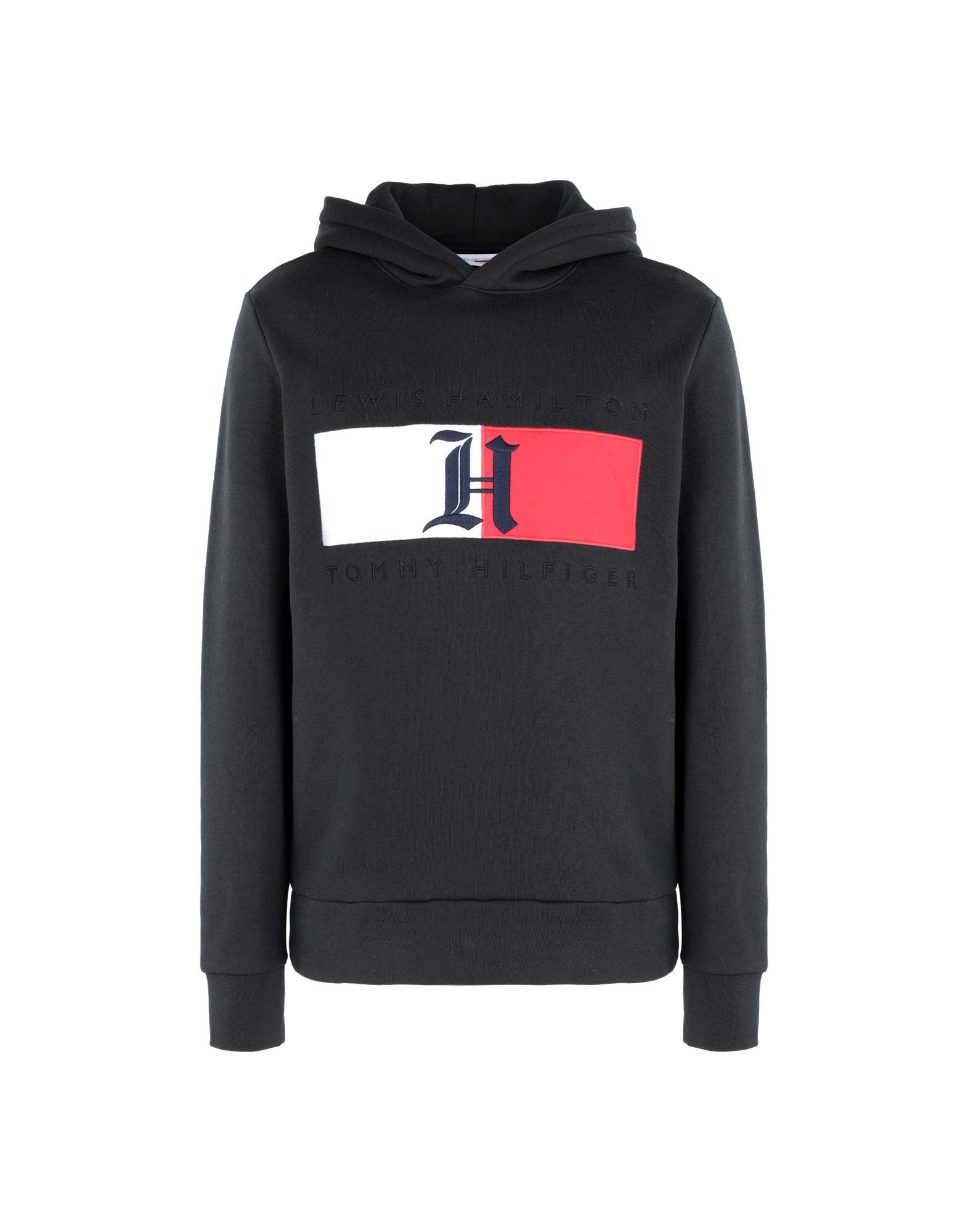 《セール開催中》TOMMY HILFIGER メンズ スウェットシャツ ブラック XL コットン 71% / ポリエステル 29% LEWIS HAMILTON FLAG SWEATSHIRTS