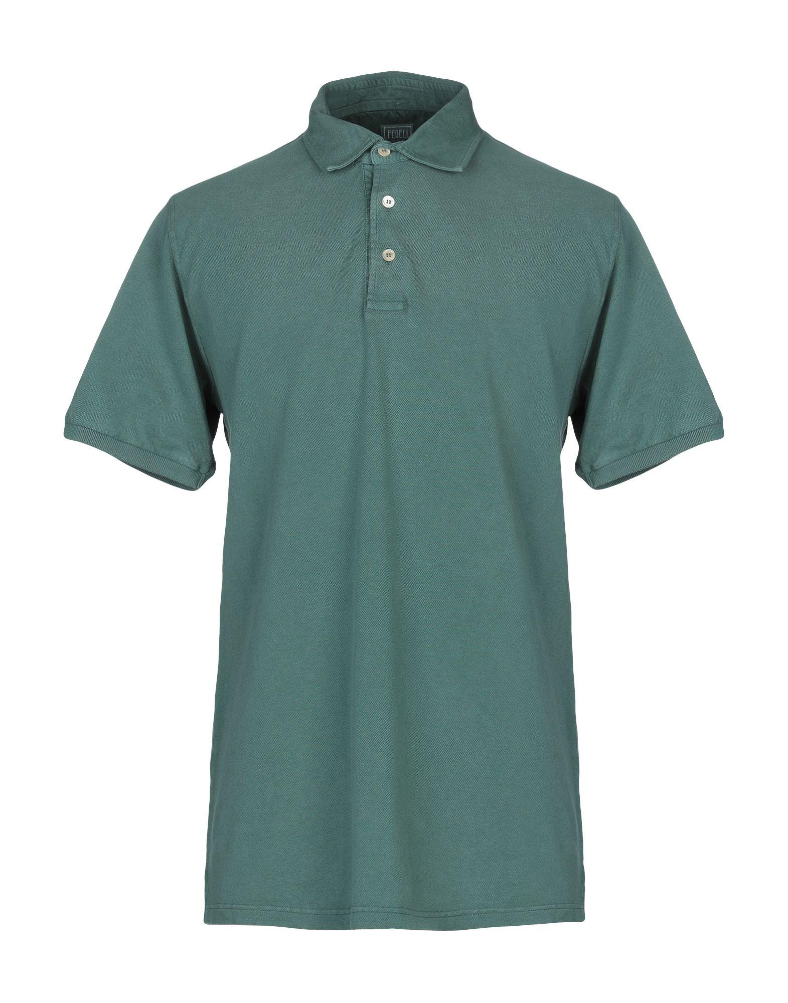 《送料無料》FEDELI メンズ ポロシャツ グリーン 54 コットン 100%
