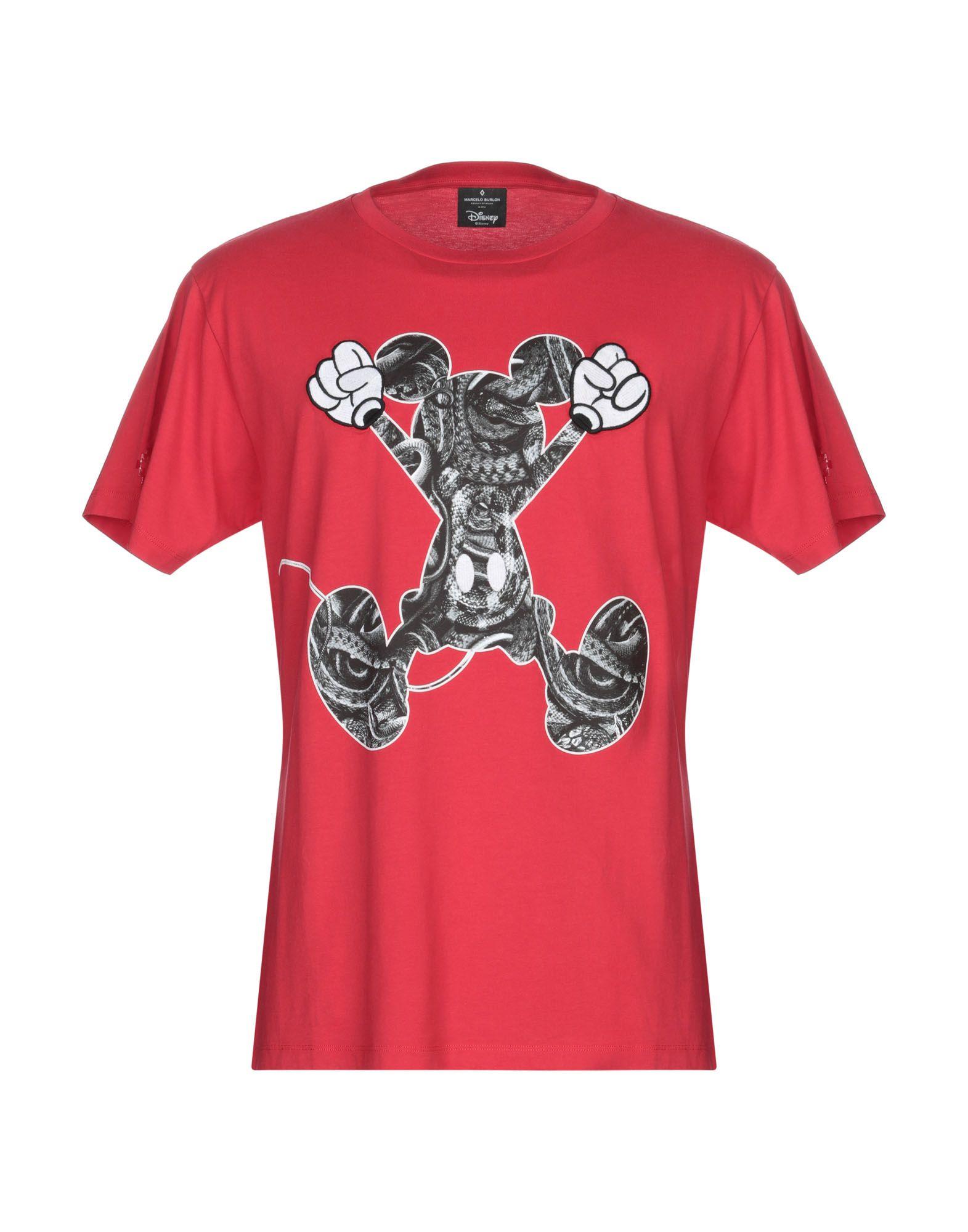《送料無料》MARCELO BURLON メンズ T シャツ レッド XS コットン 100% / ポリエステル