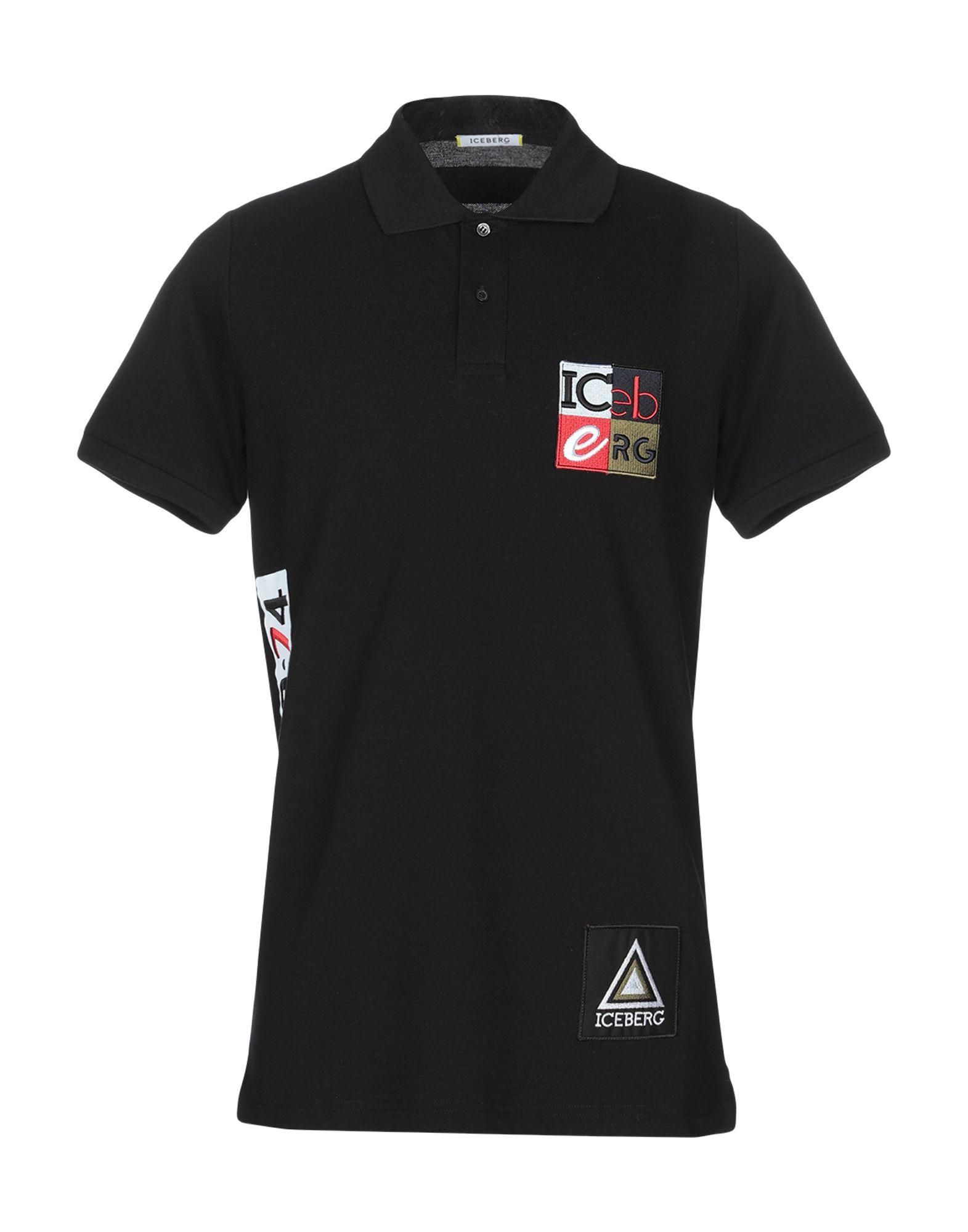 《送料無料》ICEBERG メンズ ポロシャツ ブラック M コットン 100%