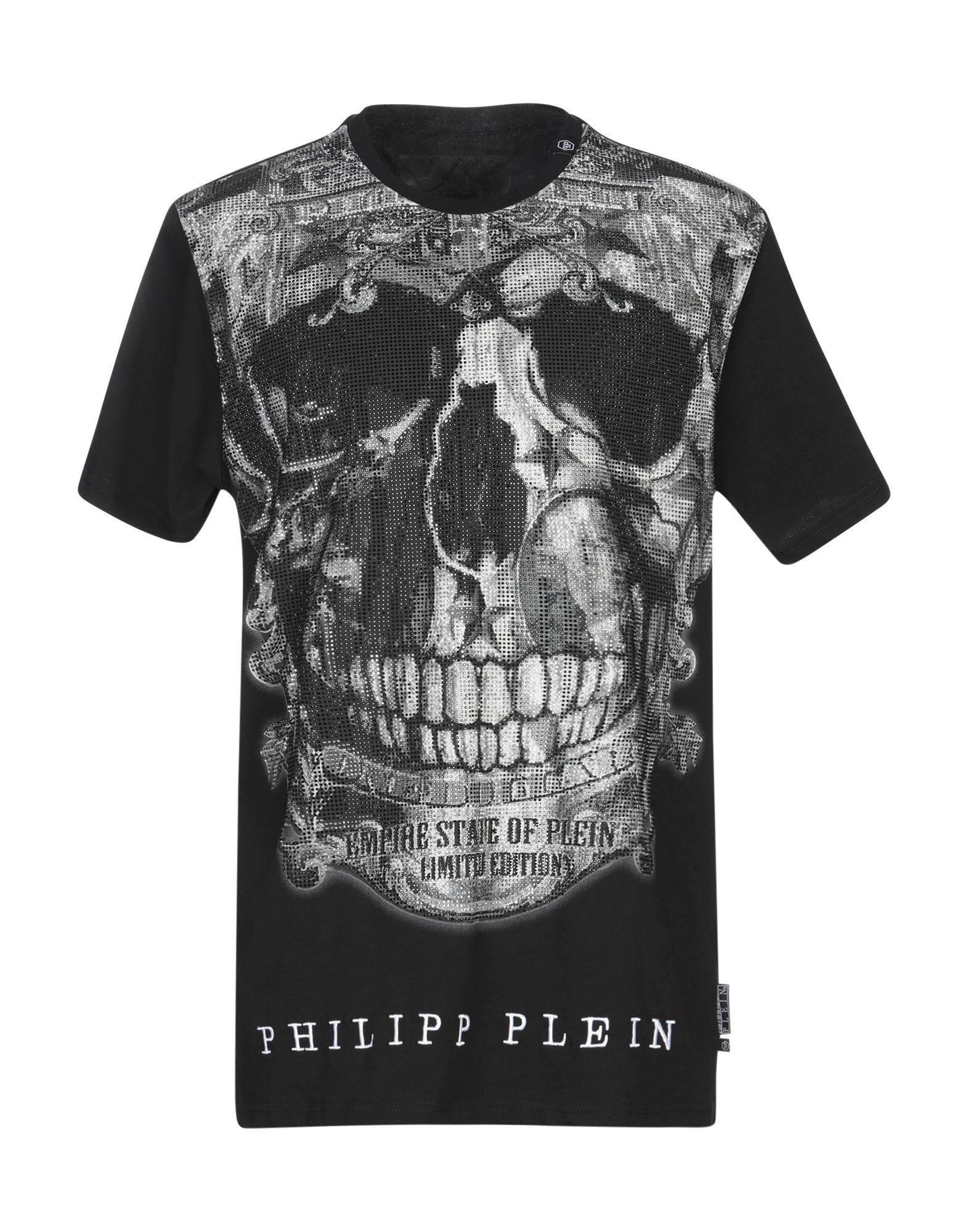 《送料無料》PHILIPP PLEIN メンズ T シャツ ブラック XXL コットン 100%