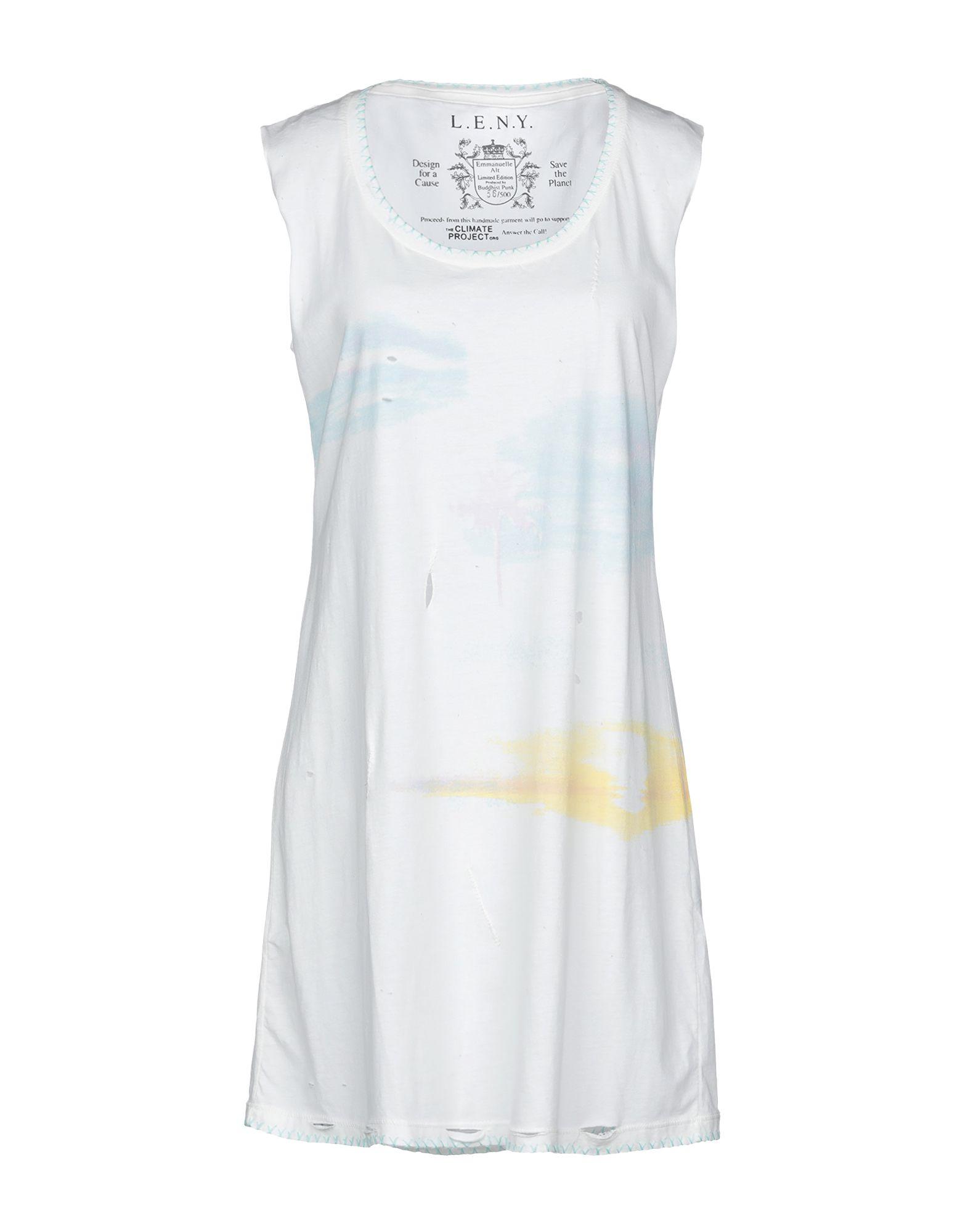 《送料無料》L.E.N.Y. レディース ミニワンピース&ドレス ホワイト S コットン 100%