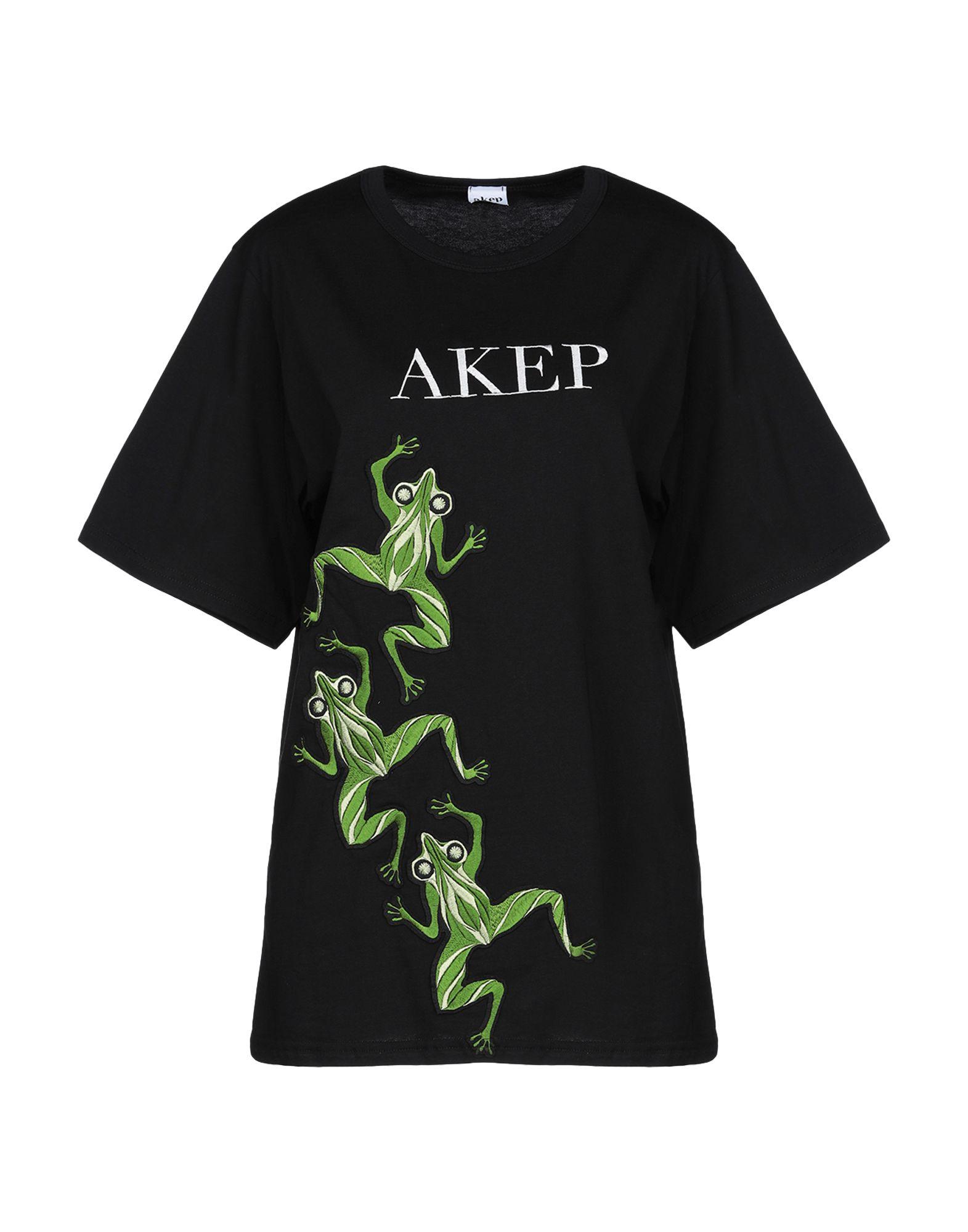 《送料無料》AKEP レディース T シャツ ブラック S コットン 100%