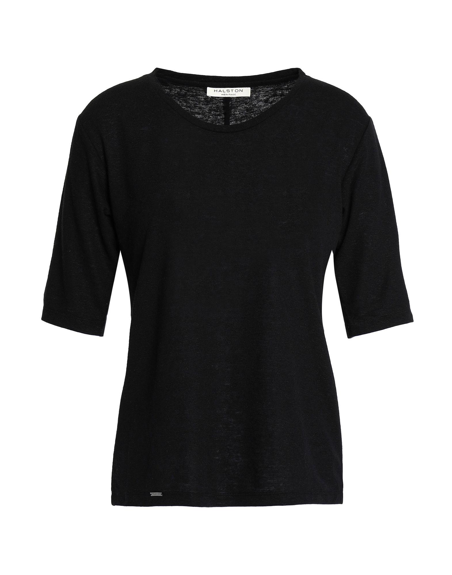 《期間限定セール中》HALSTON HERITAGE レディース T シャツ ブラック S 麻 50% / ポリエステル 50%