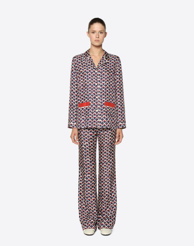 Пижамная рубашка из твила с мотивом Valentino Scale
