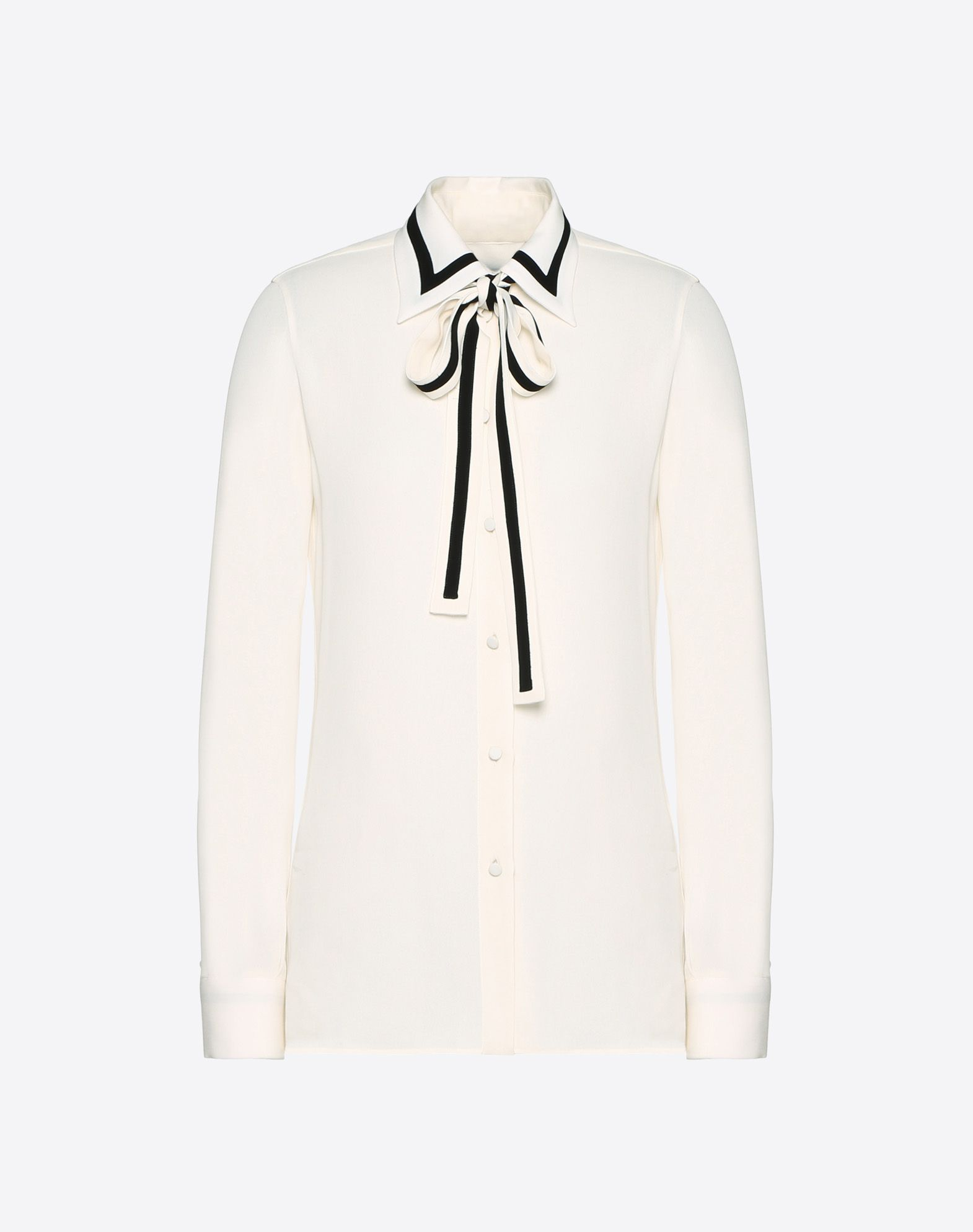 Georgette Shirt with Bow Collar