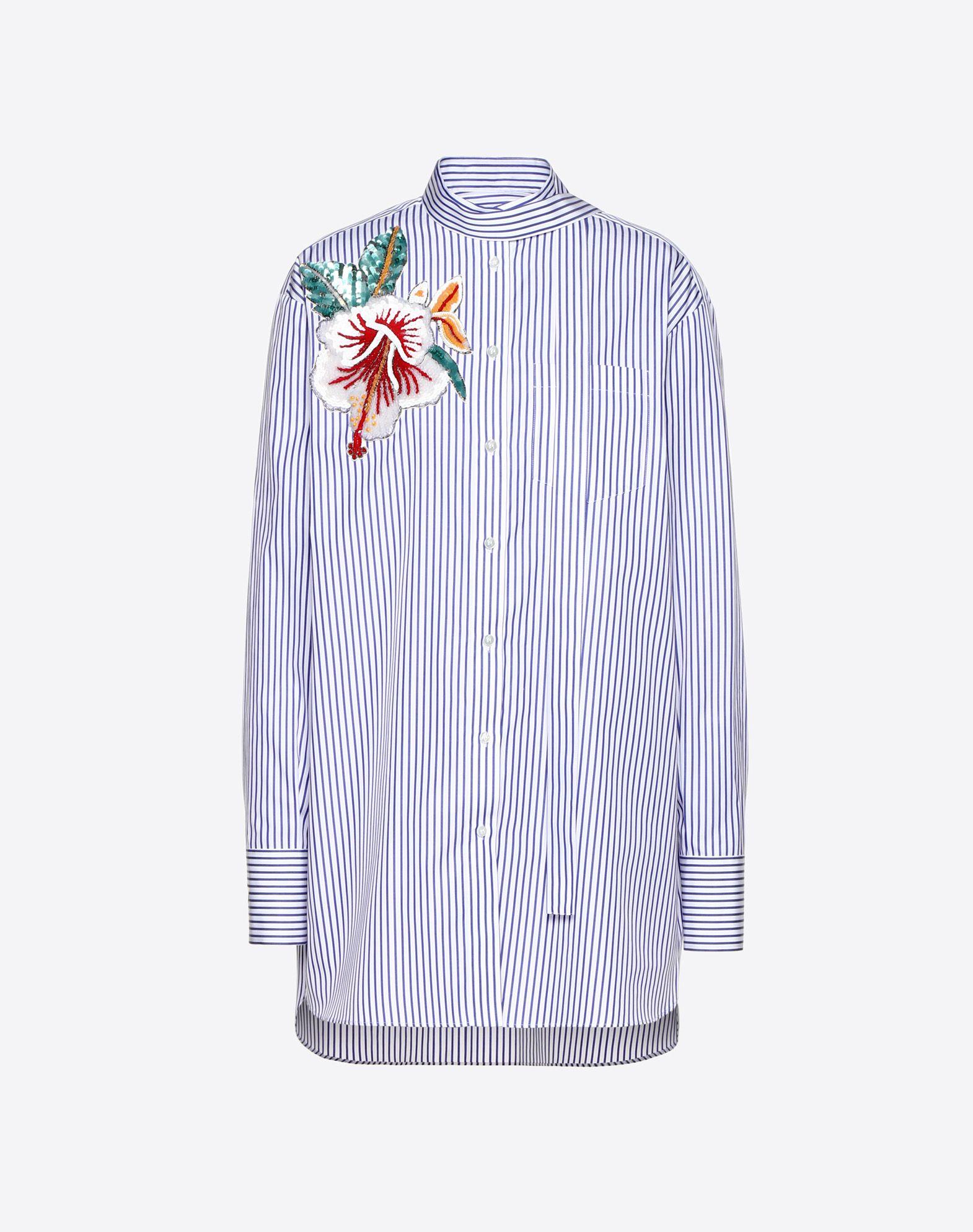 Embroidered Hawaiian Hibiscus Poplin Shirt