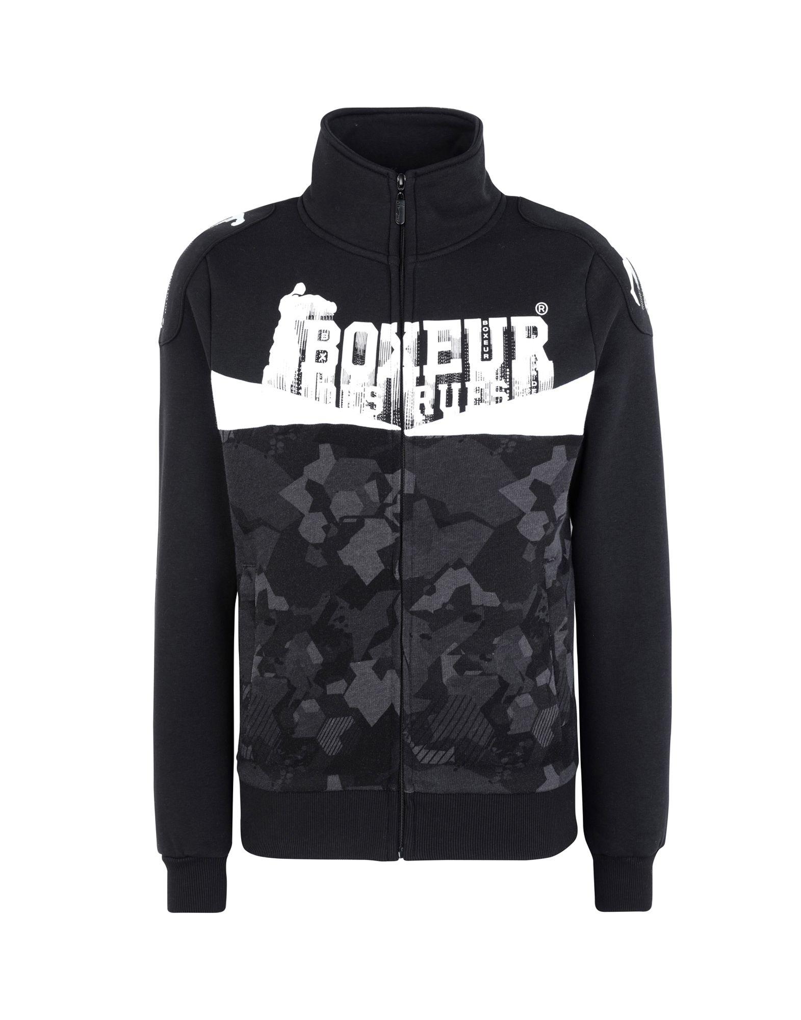 《セール開催中》BOXEUR DES RUES メンズ スウェットシャツ ブラック L コットン 80% / ポリエステル 20% BICOLOR HIGH COLLAR WITH SHOULDER PATCHES