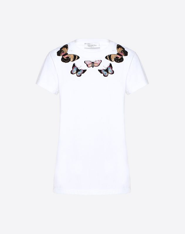 Embroidered Butterflies Cotton Jersey T-Shirt