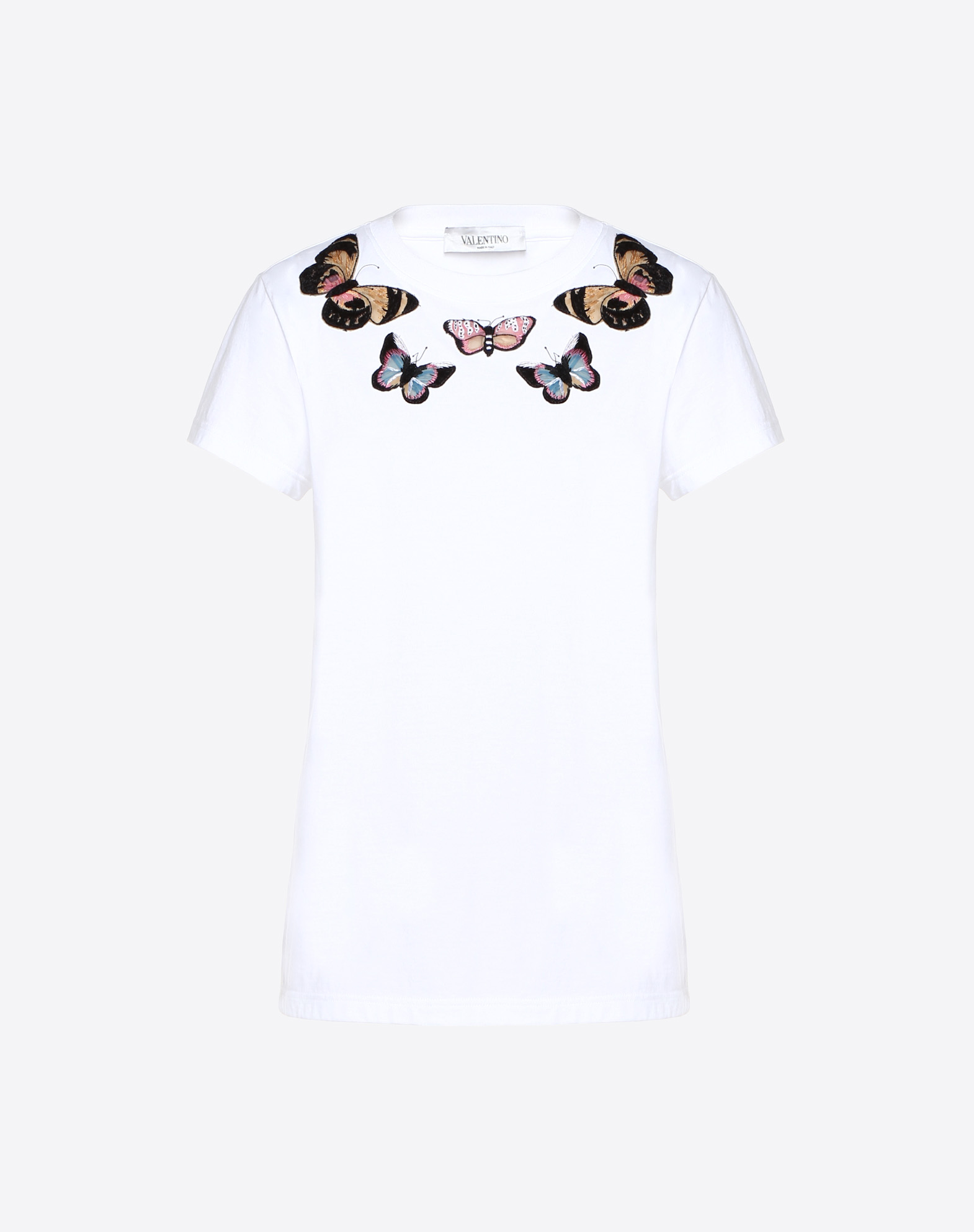 Embroidered Butterflies Cotton Jersey T-Shirt