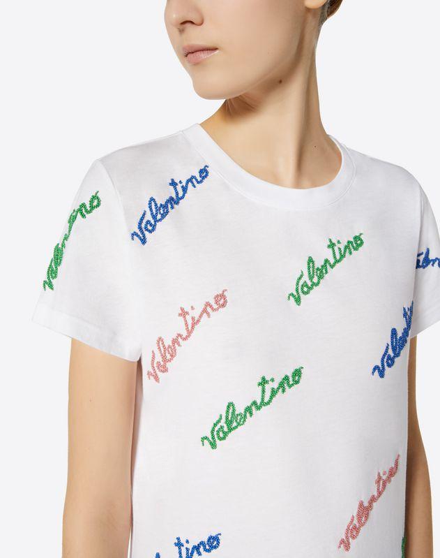 T-shirt en jersey de coton avec broderie Valentino