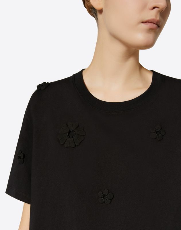 Embroidered Daisies Cotton Jersey T-Shirt