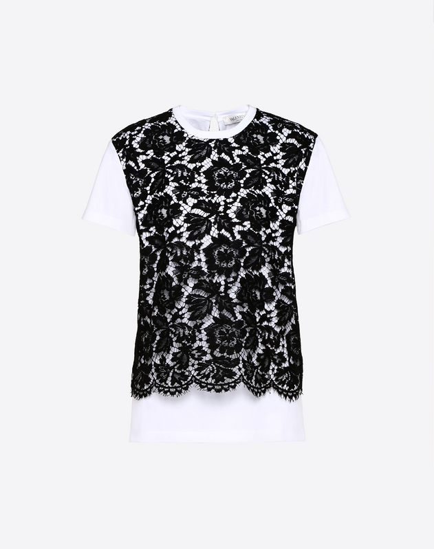 Cotton Jersey and Heavy Lace T-Shirt