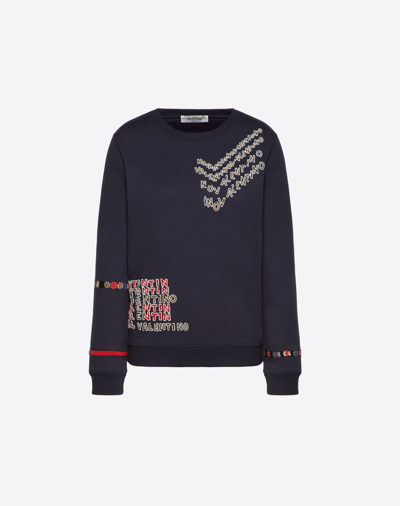 Valentino Chevron and Valentino Puzzle Embroidered Cotton Jersey Sweatshirt