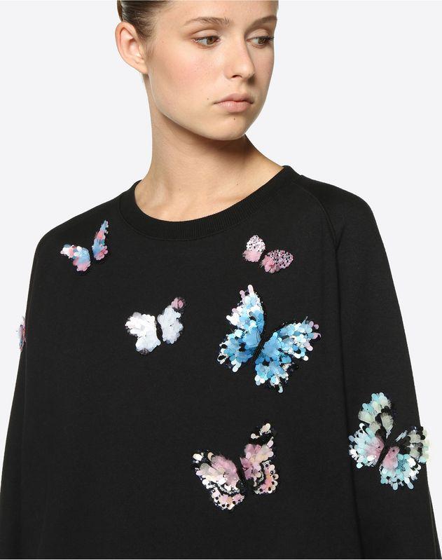 Sweat-shirt en jersey de coton avec broderie papillons