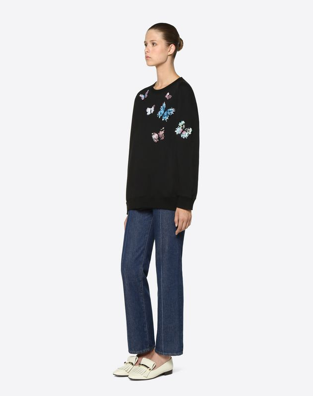 Embroidered Butterflies Cotton Jersey Sweatshirt