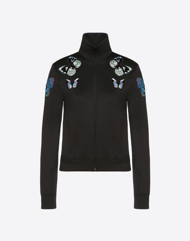 Embroidered Butterflies Cotton Jersey Sweatshirt