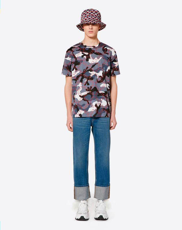 CAMOUFLAGE T-SHIRT WITH VLTN GRID PRINT