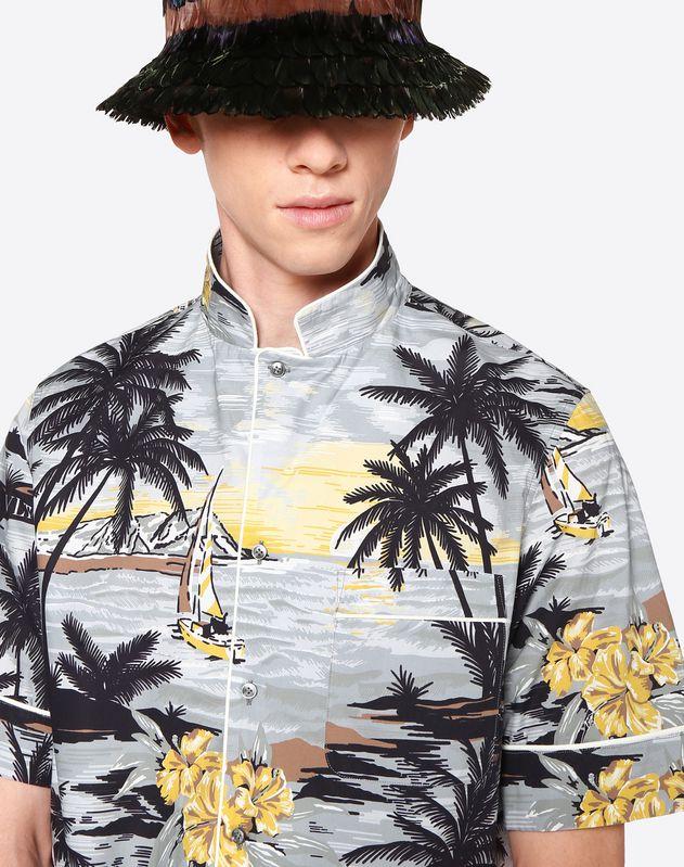Hawaiian Landscape 滚边中袖衬衫