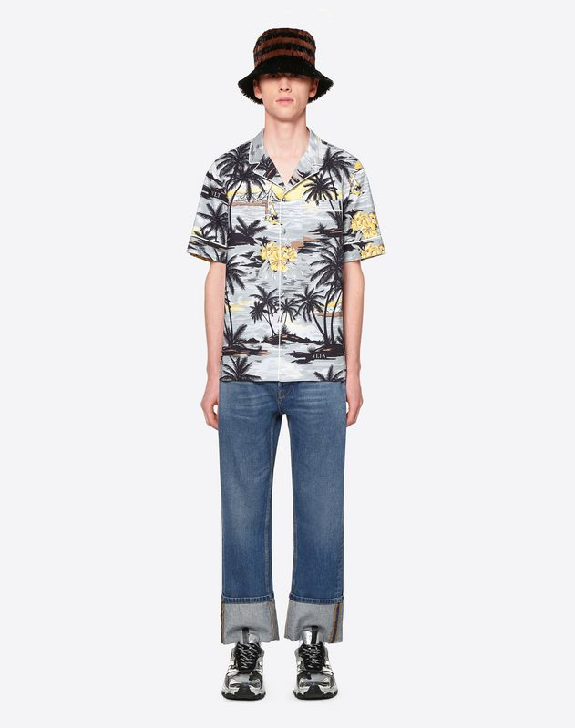 SHORT-SLEEVE HAWAIIAN LANDSCAPE SHIRT WITH PIPING