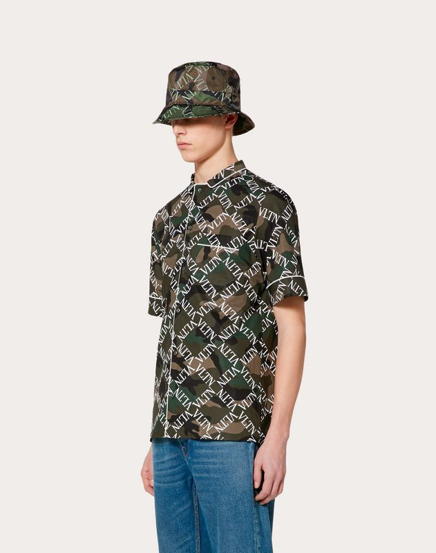 VLTN GRID SHORT-SLEEVE SHIRT WITH PIPING