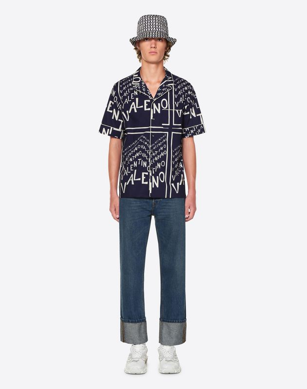 SHORT-SLEEVE VALENTINO CHEVRON SHIRT WITH PIPING